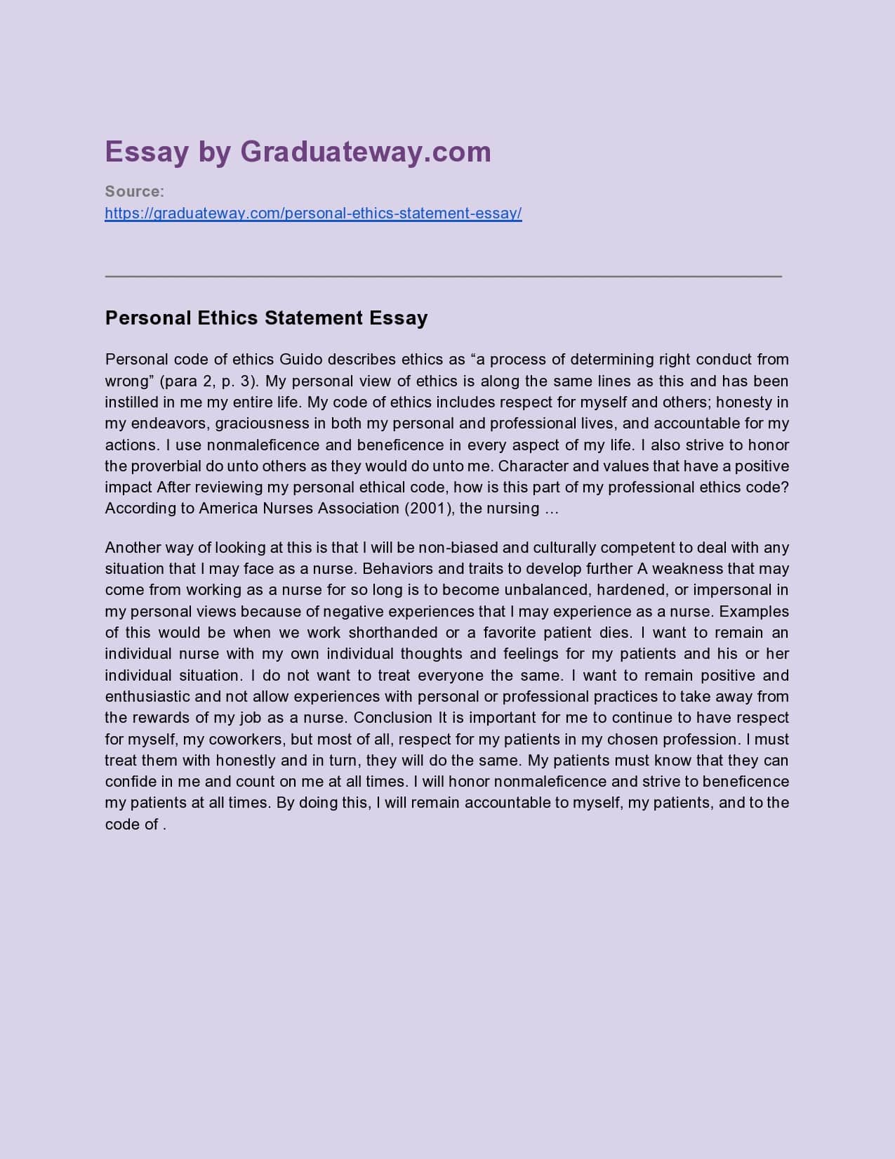 personal ethics statement essay sample